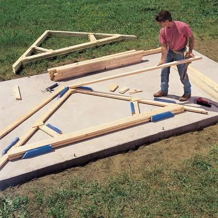 <b>Prebuilt roof trusses save time and work</b></br> If you frame your roof the traditional way, one rafter at a time, you'll spend half the day crawling up and down ladders. With prebuilt roof trusses, you'll cut out most of the ladder work, saving time and sparing your knees. Manufactured roof trusses in standard sizes are surprisingly cheap—often just a few bucks more than the lumber alone would cost. Contact any home center or lumberyard for prices and options.
