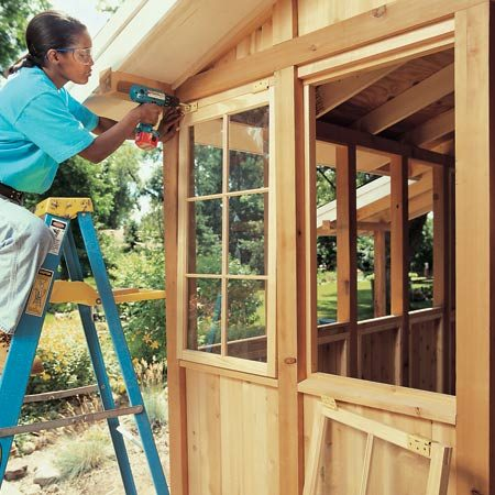 """<b>Barn sash windows add character</b></br> """"Barn sash"""" windows are the simplest windows you can get—basic wood frames, single-pane glass and dividers for classic charm. That simplicity makes them inexpensive ($45 for a 22x 42-in. version) and versatile. You can install them upright or sideways, screw them in place permanently, or hinge them on the side or top. Some home centers carry them, but most don't. Call local lumberyards or ask a manufacturer to recommend a local dealer. To find manufacturers, search online for"""" barn sash."""""""