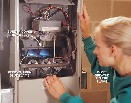 <b>Flames should be even and blue</b></br> <p>Turn the power switch on and activate the burners by turning   up your thermostat. Inspect the burner flames. The   flames should be fairly even and blue. Yellow flames indicate   dirty burners. (Don't breathe on the flames because the extra   oxygen will also make them turn yellow.) Don't adjust the burners   yourself. Call in a pro. </p>
