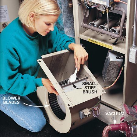 <b>Clean the blower blades carefully</b></br> <p>Clean the blower blades thoroughly with a vacuum and small   brush. Take care not to stress the wiring or disturb the   counterweights that will be on the fan blades. If you can't clean   the blower thoroughly, don't clean it at all; you could throw it off   balance. </p>