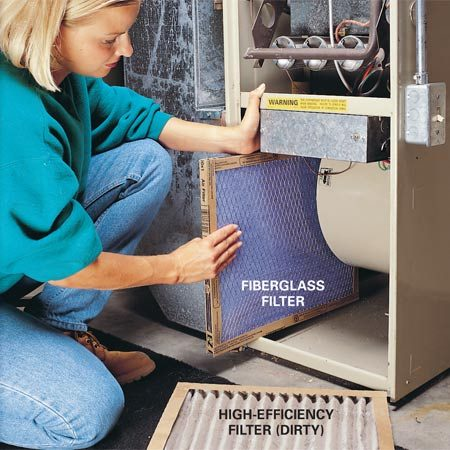 <b>Use cheap fiberglass filters</b></br> <p>Change the furnace filter every one to three months. A $1   fiberglass filter will adequately protect the blower and blower   motor. If you want to install a more expensive, high-efficiency filter,   check the owner's manual for the manufacturer recommendations.   High-efficiency filters can restrict the airflow, strain the   blower motor and make your furnace less efficient. If you want   cleaner air, the best option  is a separate air-cleaning system. </p>