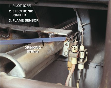 <b>Use a drinking straw to dust the pilot</b></br> <p>Blow dust off the pilot. Direct air to the exact spot by blowing   through a drinking straw. A dirty pilot can cause the flame sensor   (or thermocouple) to get a false reading that the pilot isn't lit. Some   newer furnaces have hot surface igniters instead of pilots and electronic   igniters. </p>