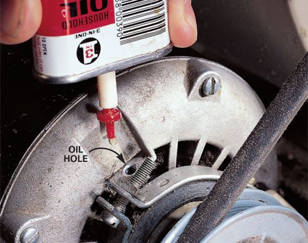 <b>Don't over-lubricate</b></br> <p>Some older furnaces have two motor bearings and two   blower shaft bearings that require annual oiling. Clean   around the oil caps and remove the caps. Apply two to three drops   of lightweight machine oil  and replace the caps. Don't over-lubricate! </p>