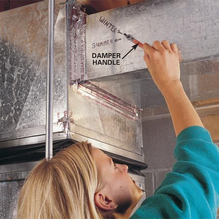 <b>Adjust the seasonal settings</b></br> <p>If your furnace heating ducts also serve as air conditioning   ducts, they may have dampers that require adjusting for   seasonal changes. The seasonal settings should be marked. Two-story   homes often have separate supply trunks to serve the upstairs   and downstairs. To send more warm air downstairs (winter setting)   or more cold air upstairs (summer setting), adjust the damper   handle on each supply trunk. </p>