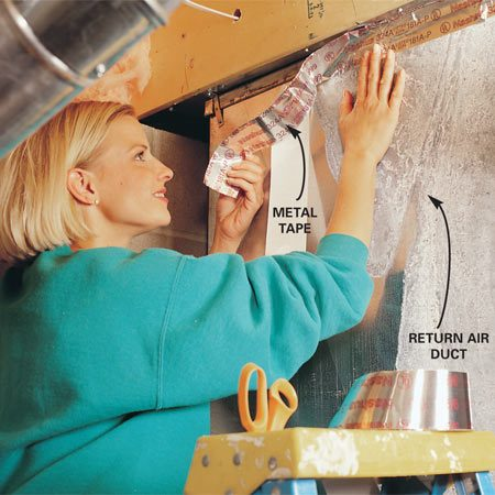 <b>Use special metal tape to seal leaks</b></br> <p>Seal leaky ducts, especially return air ducts, with special   metal tape or high temperature   silicone. Then conduct a backdrafting test   to make sure the combustion gases go up the flue: Adjust the   thermostat so the burners come on. Hold a smoking stick of   incense beside the draft hood. The smoke should   be drawn into the hood. Also inspect the exhaust vent pipes on   your furnace and water heater (while they're cool). White powdery   residue can indicate corrosion. Call in a pro to fix these problems. </p>