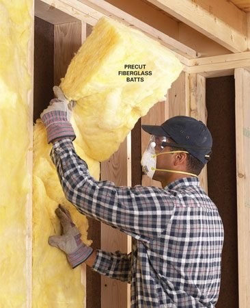 <b>Push batts to the back of the stud space</b></br> <p>The key to a  quality insulating job is tight-fitting batts   that  completely fill the stud cavity with no voids or   gaps. Push  batts all the way to the back of each stud space   and then  pull out the front edges until they're flush with   the face of  the studs. You'll need a utility knife with a good supply of   sharp  blades, a tape measure and a straightedge, and a   3- or 4-in.  putty knife for stuffing insulation around   doors and  windows. Fiberglass can irritate your throat   and skin, so  wear protective gear.</p>