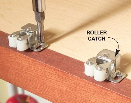 <b>Replace and adjust the catch</b></br> <p>Most newer  cabinets have self-closing   hinges that  hold the doors shut.   Others have  magnetic or roller catches.   A catch that  no longer keeps a door   closed is  either broken or out of   adjustment.  Catches are fastened with   two screws,  so replacing a damaged   catch is  simple. Adjustment is just as simple, but   you might  have to readjust the catch a   couple of  times before you get it right.   Loosen the  screws, move the catch in   or out, and  tighten the screws. If the   door doesn't close tightly, try again. </p>