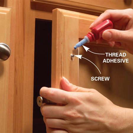 <b>Glue knobs in place</b></br> <p>Any handle  or knob that comes loose   once is  likely to come loose again. Put   a permanent  stop to this problem   with a tiny  drop of thread adhesive   like Thread  Lok (about $3 at home   centers).  Don't worry; if you want to   replace your  hardware sometime in   the future,  the knobs will still come   off with a screwdriver. </p>