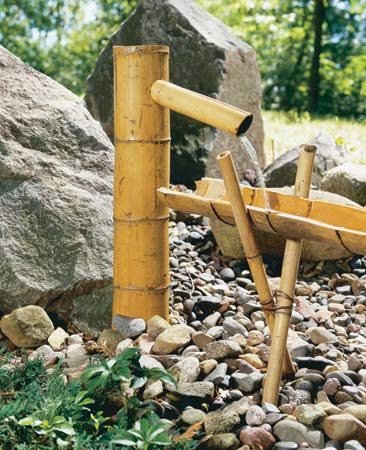 <b>Bamboo spout</b></br> Your bamboo water feature will start with water emerging from a spout.
