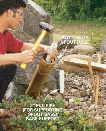 <b>Photo 8: Cut the spout base</b></br> Cut the top off a 4-in. full diameter length of bamboo just above a node (so water won't collect in the top; Photo 12). Then measure and cut off a length for the spout base that's 12 in. longer than the height of the last sluice. Knock out all the lower nodes with a piece of 2-in. PVC pipe.