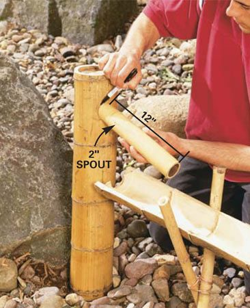 <b>Photo 9: Add the spout</b></br>  Cut a 45-degree angle on the bottom of the PVC and drive it about 8 in. into the ground just behind the last sluice (Photo 8). Slip the spout base over the PVC pipe and trace around a 12-in. length of 2-in. bamboo to mark the hole for the spout.