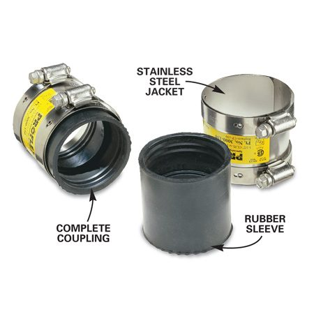 <b>Photo 2: Transition coupling close-up</b></br> A transition coupling consists of a rubber sleeve and steel jacket.