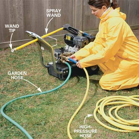 <b>Photo 1: Start the power washer</b></br> Connect a garden hose and the power washer hose to the machine. Snap a 25-degree tip onto the end of the wand. Turn on the water to the garden hose and pull the trigger on the spray wand until water squirts out. Now start up the power washer's engine.