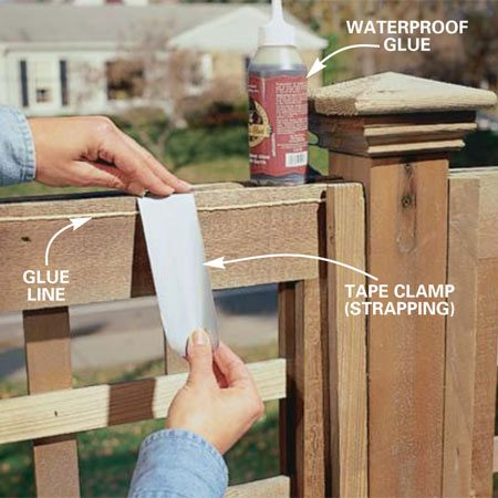 <b>Photo 3: Glue damaged pieces</b></br> Glue split and broken pieces when the wood has dried for at least 24 hours. Apply waterproof glue and clamp or tape the pieces firmly together.