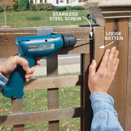 <b>Photo 4: Tighten loose boards</b></br> Drive weather-resistant or stainless steel screws to tighten loose boards. Recess the head 1/4 in. and fill with a light-colored caulk.
