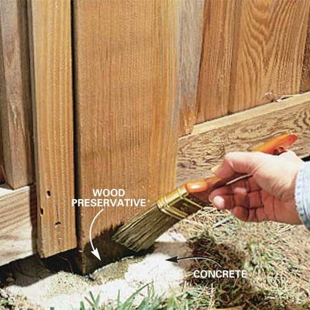<b>Photo 6: Apply wood preservative </b></br> Brush a wood preservative into the posts around the base to help prevent rot at this vulnerable area.