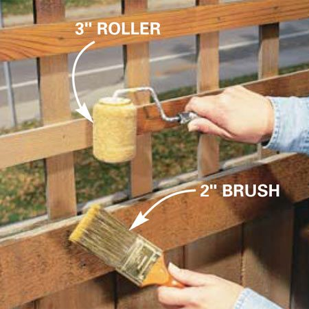 <b>Photo 9: Stain all areas</b></br> Work the stain into small and tight areas with a trim roller and a 2-in. brush. One generous coat should be enough.