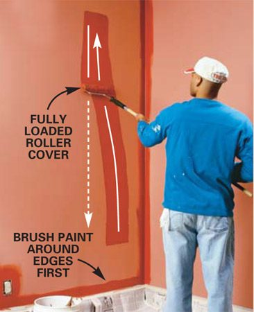 <b>Photo 1: Roll paint on the wall</b></br> Lay the paint on the wall with a sweeping stroke. Start about a foot from the bottom and 6 in. from the corner and roll upward at a slight angle using light pressure. Stop a few inches from the ceiling. Now roll up and down back toward the corner to quickly spread the paint. You can leave paint buildup and roller marks at this step. Don't worry about a perfect job yet.