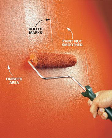 Smooth walls by rolling back over the wet paint<br/> without reloading the roller. Roll lightly without<br/> pressing.