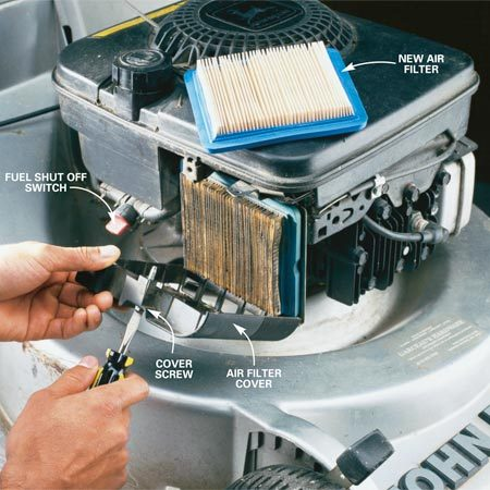 <b>Photo 1: Change the oil and filter</b></br> Loosen the air filter cover screw and drop the cover down. Pull out the old air filter and press in the new one (make sure the paper pleats are facing out). Replace the cover and firmly tighten the cover screw.