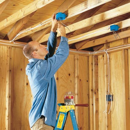 <b>Wiring an unfinished garage. </b></br> Wire your unfinished garage to get the lights and outlets you need.