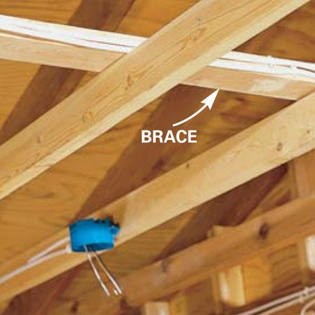 <b>Photo 5:   Run cable along the sides of braces </b></br> Run cable across ceiling joists by using the sides (not the top) of existing braces. This can shorten some cable runs.