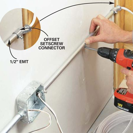 <b>Photo 7: Protect cables on hard walls with conduit. </b></br> Protect surface cables on hard-surfaced walls by encasing them in either PVC or metal conduit. Use connectors and boxes and straps that are compatible with each type of conduit. When running cable out an open conduit end, be sure to use a connector fitting.