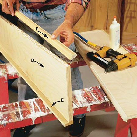 <b>Photo 4: Build the shelves</b></br> <p>Glue and nail 1/2-in. thick hardwood strips on the backside of the shelf (E) and 1-1/8 in. decorative molding to the front (F). An 18-gauge air nailer is worth buying or renting for this task. You can nail the molding as you align it without the possibility of it shifting, not to mention you'll be done in less than a tenth of the time required for ordinary nailing.</p>