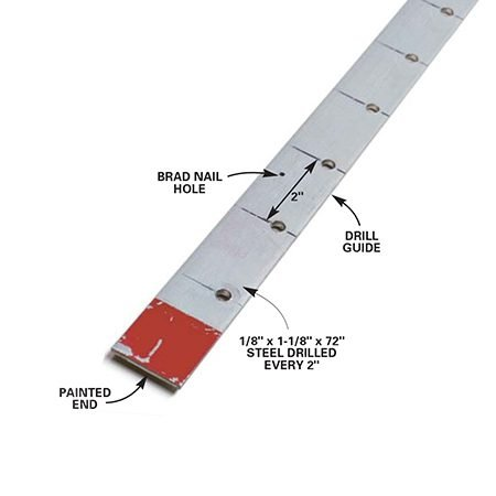 <b>Shelf pin drilling guide</b></br> <p>Mark and drill the strip with a 1/4-in. twist bit and you've got a great jig you can use for future projects.</p>