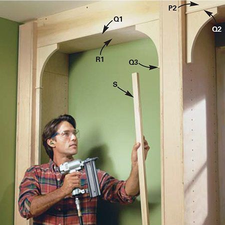 <b>Photo 10: Fasten the fillets, brackets and bracket supports</b></br> <p>Cut the fillets (Q1 through Q4) on a table saw. Sand each piece (100 grit) to soften the sharp edges. Cut and nail each piece into place with a small finish nailer. Glue and nail the brackets (K) below the fascia and fillet. Cut the lower bracket supports (S), center them below the brackets and fillet, and glue and nail them to the partition sides with the air nailer.</p>