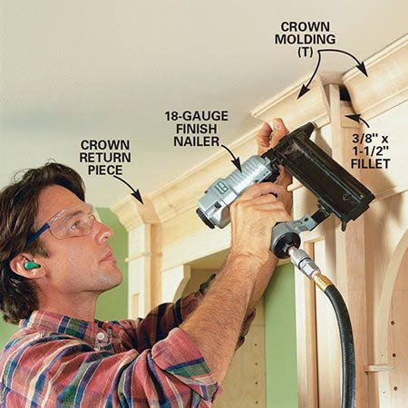 <b>Photo 13: Add crown molding</b></br> <p>Cut and nail the crown molding to finish the joints along the ceiling. Cut and glue small pieces of wood to fill the gaps on the side of each partition behind the face frame.</p>