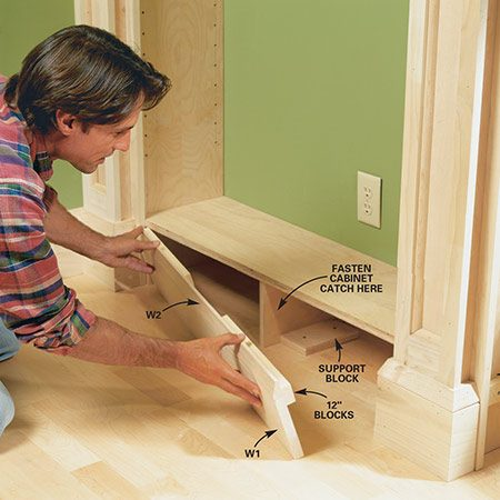 "<b>Photo 16: Build the secret panel</b></br> <p>Assemble the ""removable"" secret-panel base section to create a secret storage box under the base shelf. Keep the base panel in place with a cabinet magnet catch fastened to the side of the support piece (V).</p>"