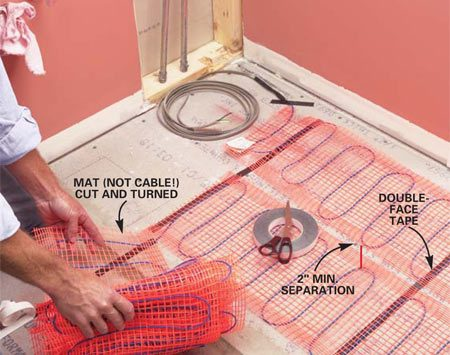 <b>Photo 5: Tape the mat to the floor </b></br> Install the mat, securing it lightly to the floor with double-face tape. Cut the mat (never the cable), then reverse direction at walls.