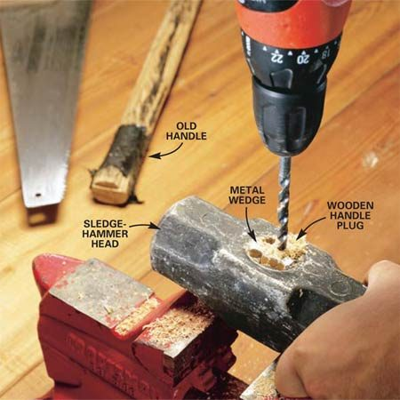 <b>Photo 1: Drill out the handle</b></br> Cut off the old handle just above the tool head. Open the jaws of a vise wider than the remaining wooden handle plug and rest the ends of the tool head on the vise jaws. Drill 1/4-in. holes in the wooden handle plug until it looks like Swiss cheese (drill around the metal wedge in the center of the plug).