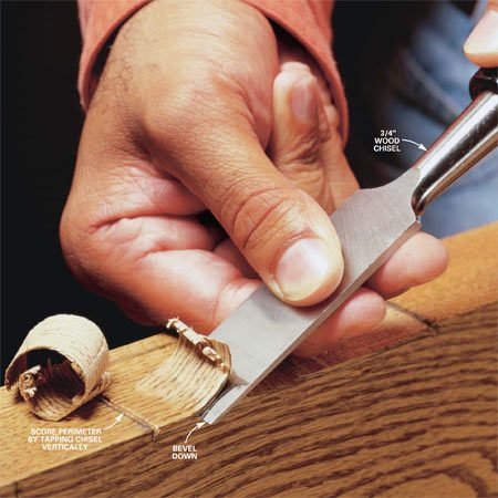 <b>Photo 1: Mortise cut</b></br> Face the bevel down. Push or tap the back of the chisel to remove thin slices. Control the depth by raising and lowering the handle.