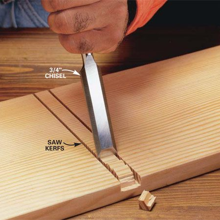 <b>Photo 4: Chisel a dado</b></br> Cut a groove, or dado, by first sawing along both edges to the desired depth. Then break out the wood in the middle with your chisel. Space the chisel cuts about 1/2 in. apart.