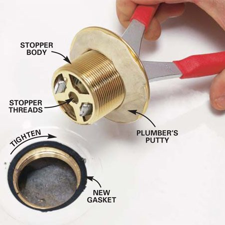 <b>Photo 3: Install the new stopper body</b><br/>Slide in a new gasket. Then roll a pencil-sized bead of plumber's putty and press it around the underside of the new stopper body rim. Stick the jaws of 8-in. pliers into the stopper body grate and thread it into the drainpipe.