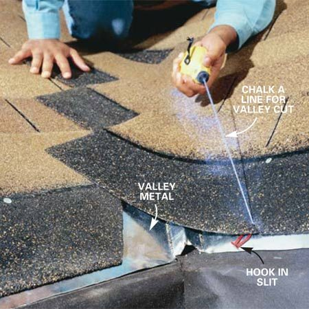 <b>Photo 5: Snap lines on shingles</b></br> Chalk a line on shingles by hooking the end of your string into a slit cut in the shingle with a utility knife or hook blade.
