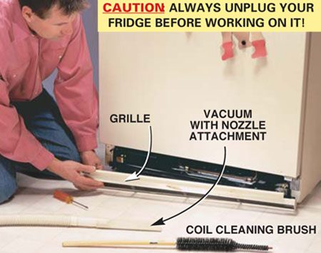 <b>Photo 1: Remove the grille</b></br> Unsnap the grille at the bottom of the refrigerator to access the coils. If your coils are located on the back, you'll have to roll the fridge out to get at them.