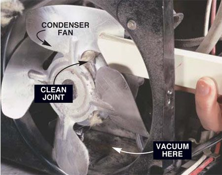 <b>Photo 2: Brush and vacuum the fan</b></br> Clean the fan blades with the brush and vacuum so air can move freely across them. Also clean the shaft by vacuuming the crease where the blade meets the motor. Don't lubricate the shaft; oil will attract dirt and cause problems.