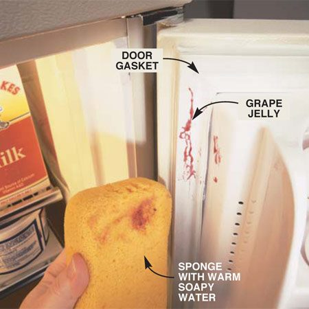 <b>Clean the door gasket</b></br> Wipe the door gasket regularly with warm water and a sponge. Don't use detergent—it can damage the gasket.