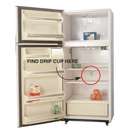 <b>Locate the drip cup</b></br> Find the drip opening on your fridge