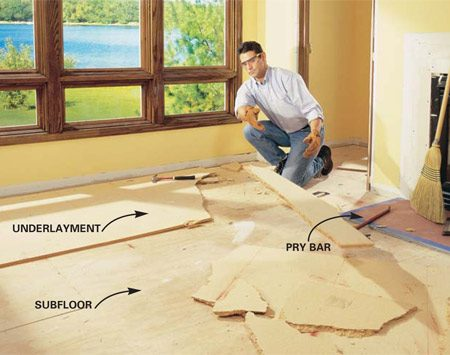 <b>Photo 1: Pry up the floor and underlayment</b></br> Remove the existing floor covering and pry up the underlayment with a pry bar, leaving the subfloor intact. Pull all protruding nails. Walk the floor to check for loose or squeaky spots in the subfloor.  To tighten the subfloor, drive 2-in. screws into the joists.
