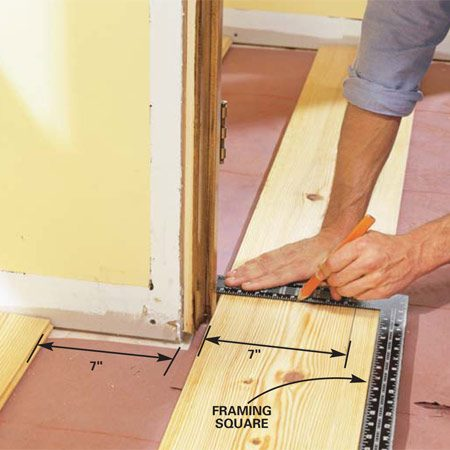 <b>Photo 8: Notch the boards to fit doorways </b></br> Hold the board in place at doorways and corners and mark for notching with a straightedge. The board only needs to fit within 1/4 in. of the wall and slide under the door jamb.