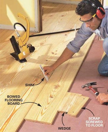 <b>Photo 10: Straighten bowed boards </b></br> Wedge the boards together if necessary to straighten bowed boards. Cut the wedge from a scrap of flooring with the groove left on. Drive the wedge between the flooring board and a scrap board screwed to the subfloor. Cut badly bowed boards into shorter lengths.