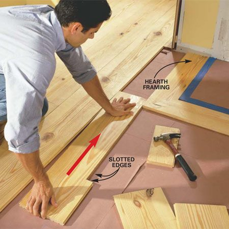 <b>Photo 13: Slide the board along the hearth </b></br> Slide the notched piece into place. Use a block and hammer if needed to drive the board in. The tongues and grooves will align the boards and hold them flush.