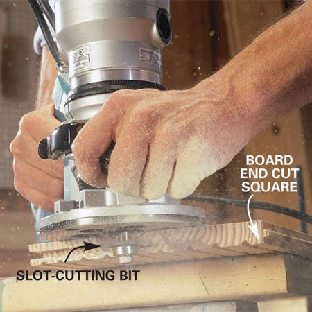 <b>Routing detail</b></br> Cut the next board to length and groove the end with the slotting cutter.
