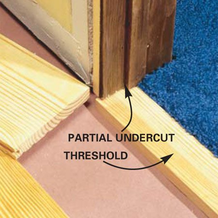 <b>Photo 15: Install the threshold</b></br> Measure, cut and slide the threshold board under the jambs at the doorway before the final floorboard is installed. Cut the final full length boards to width with a table saw and check the fit at the threshold.