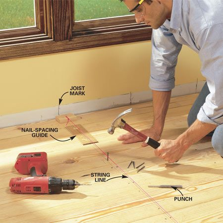 <b>Photo 18: Mark the joists </b></br> Stretch a string line (not  a chalk line) to mark the joists. Drill the pilot holes for the cut nails using a simple spacing guide. Hammer the cut nails flush with the pine flooring and countersink 1/8 in. below the surface with a heavy punch or countersink.