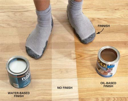 <b>Photo 1: Water-based vs. oil-based</b></br> <strong>Water-based</strong> polyurethanes provide a clear finish and have low odor. You can recoat them in two hours and clean your tools with water. If you start early enough in the day, you can apply the recommended four coats and sleep in the room that night.<br/> <strong>Oil-based</strong> polyurethanes leave an amber glow and require fewer coats. But the five-hour wait between coats and 12-hour wait after the last coat will put a bedroom out of commission for a few days—and you'll have to put up with a strong odor.
